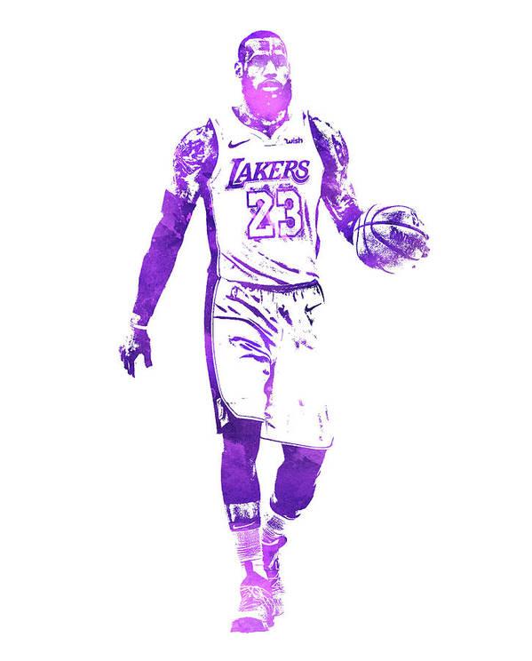 Lebron James Los Angeles Lakers Water Color Pixel Art 1 Art Print By Joe Hamilton
