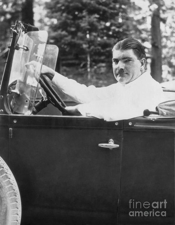 People Art Print featuring the photograph Leonard Kip Rhinelander Seated In Car by Bettmann