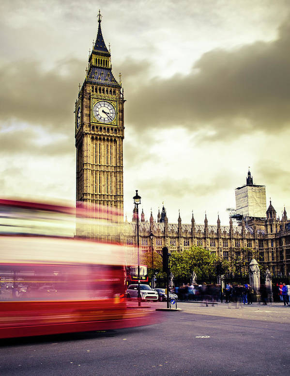 Clock Tower Art Print featuring the photograph London Double Decker Bus Near Big Ben by Filippobacci