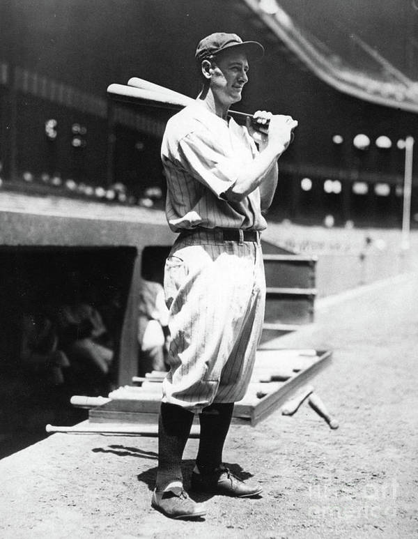 People Art Print featuring the photograph Lou Gehrig Before The Game by Transcendental Graphics