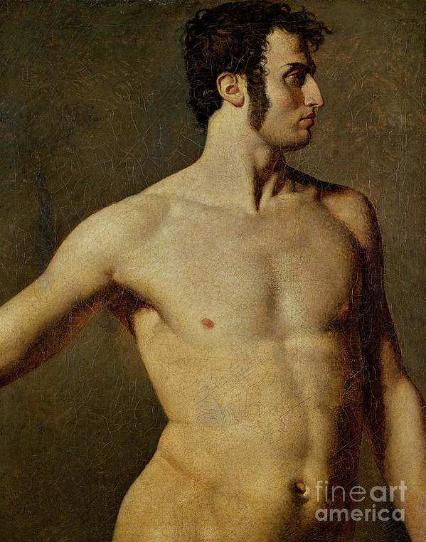 Oil Painting Art Print featuring the drawing Male Torso. Artist Ingres, Jean Auguste by Heritage Images