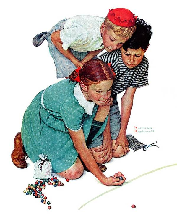 Boys Art Print featuring the drawing Marbles Champ by Norman Rockwell