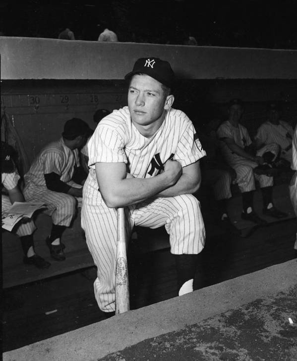 American League Baseball Art Print featuring the photograph Mickey Mantle In Yankee Dugout by Frederic Lewis