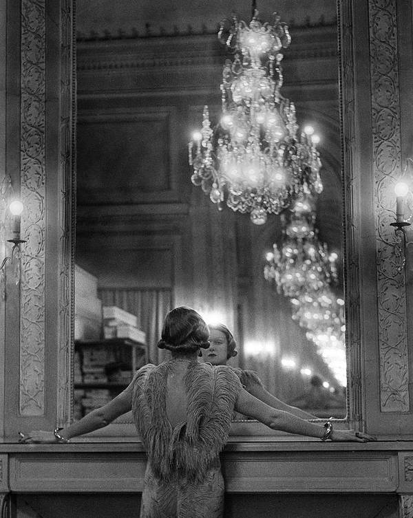 Timeincown Art Print featuring the photograph Model In Ostrich Feather-trimmed Gown Pa by Alfred Eisenstaedt