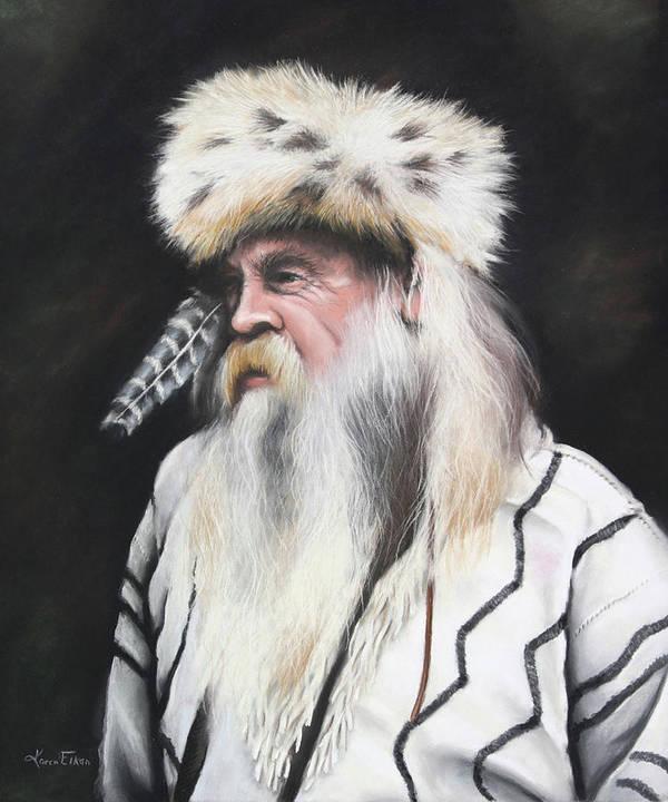 Mountain Man Art Print featuring the pastel Mountain Man by Karen Elkan