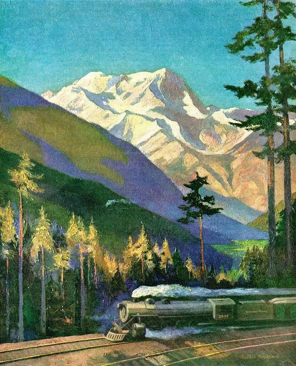 Art Art Print featuring the drawing Mt. Rainier National Park by Unknown