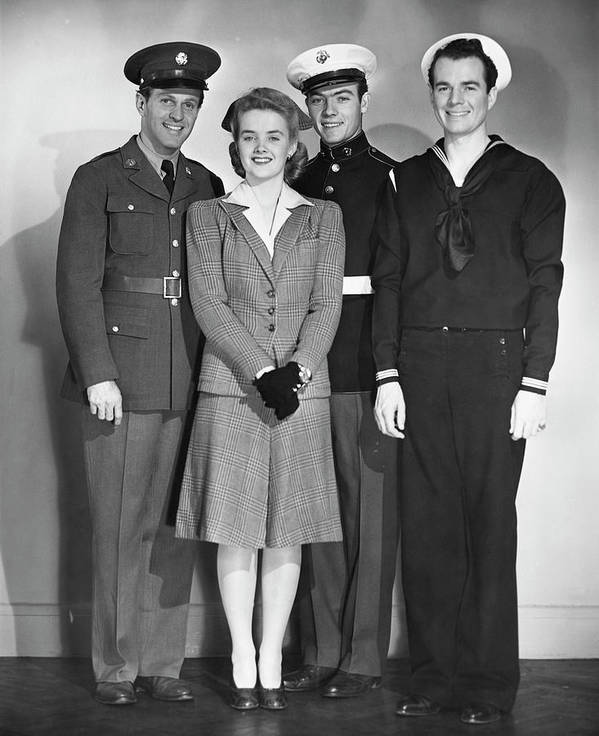 People Art Print featuring the photograph Navy, Marine, Army Officers by George Marks