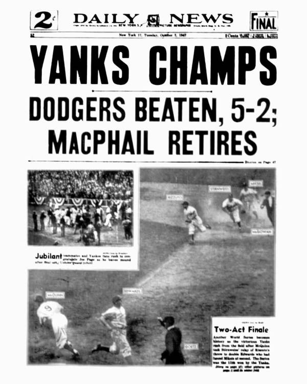 American League Baseball Art Print featuring the photograph New York Daily News Front Page October by New York Daily News Archive
