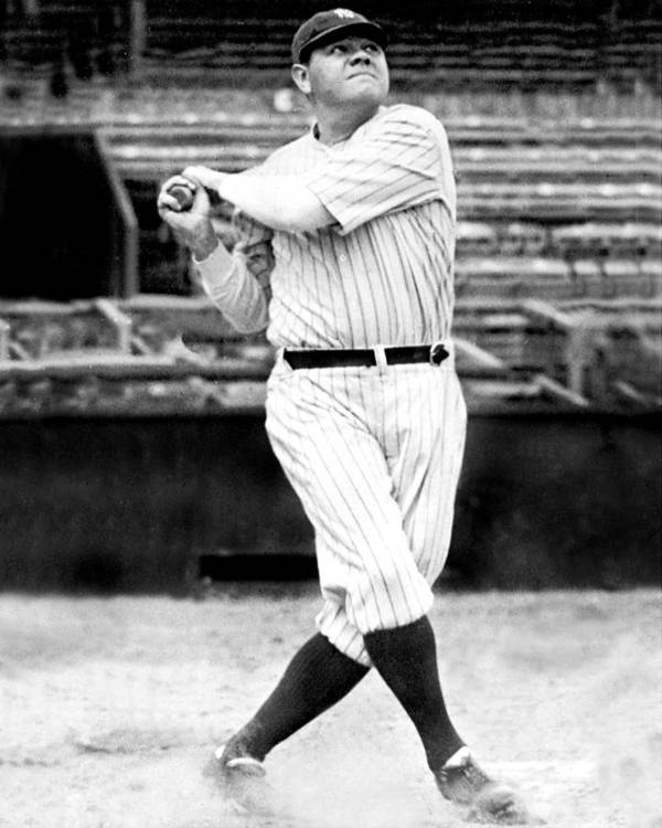 People Art Print featuring the photograph New York Yankees Babe Ruth Swinging His by New York Daily News Archive