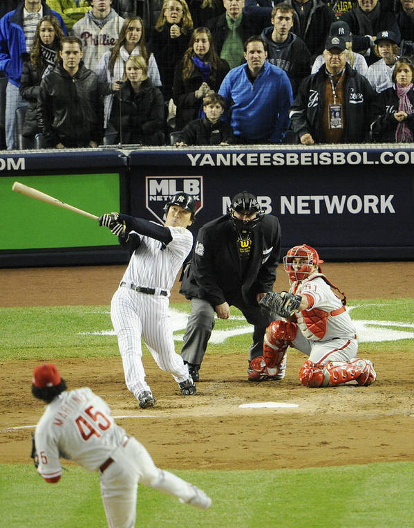 American League Baseball Art Print featuring the photograph New York Yankees Hideki Matsui Hits by New York Daily News Archive