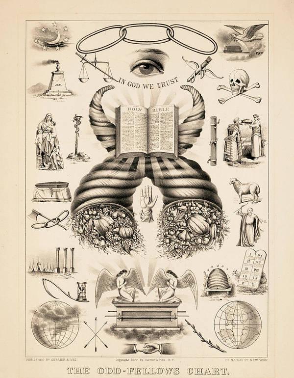 Odd-fellows Chart Art Print featuring the painting Odd-fellows Chart, 1877 by American School