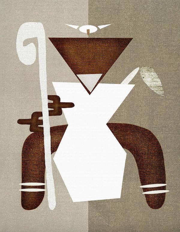 Orishas Art Print featuring the digital art Orisha Obbatala' by SOUENTOS - souvenirsycuentos - Viola Mari Ekong