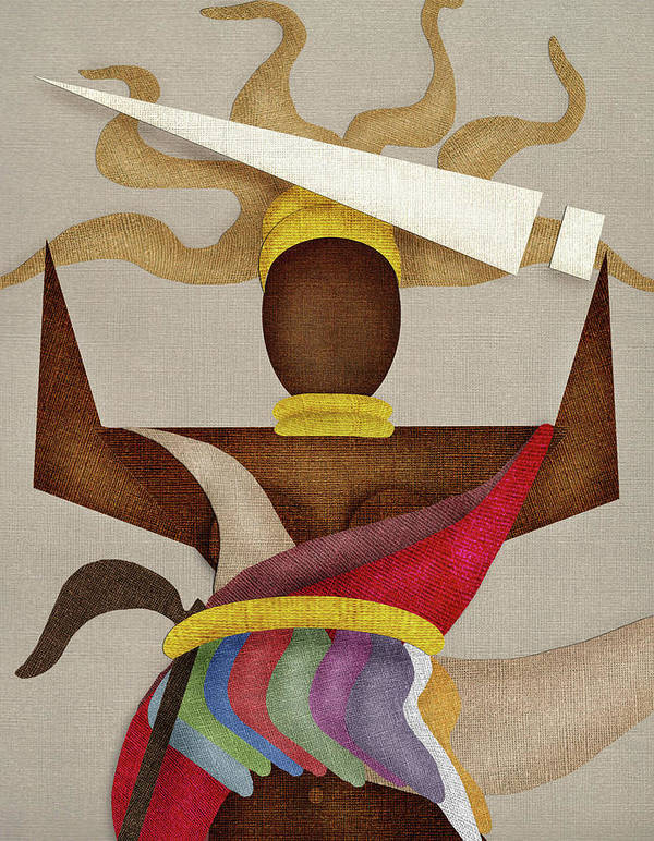 Orisha Oyá Art Print featuring the digital art Orisha Oya' by SOUENTOS - souvenirsycuentos - Viola Mari Ekong