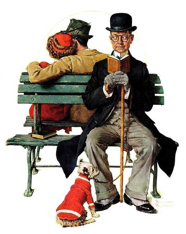 Benches Art Print featuring the drawing overheard Lovers (man On Park Bench) by Norman Rockwell