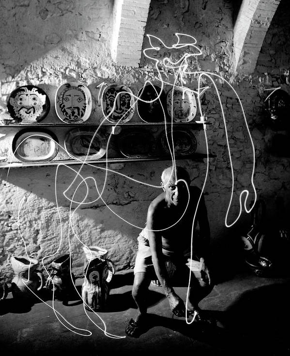 Pablo Picasso Art Print featuring the photograph Picasso Drawing With Light by Gjon Mili