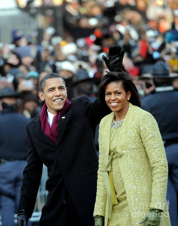 Inauguration Into Office Art Print featuring the photograph President Barack Obama And First Lady by New York Daily News Archive