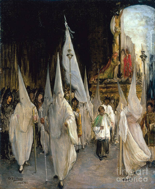 Oil Painting Art Print featuring the drawing Procession Of The Seven Words. Artist by Heritage Images