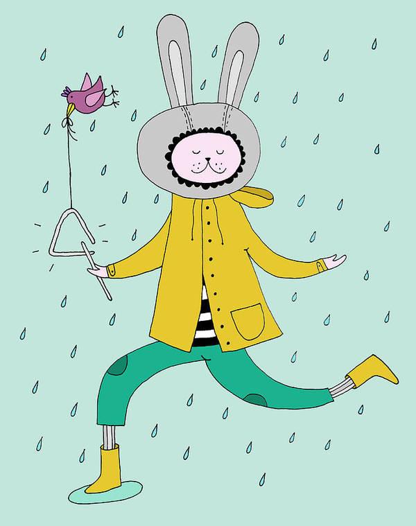 Animal Themes Art Print featuring the digital art Rabbit In Rain by Kristina Timmer