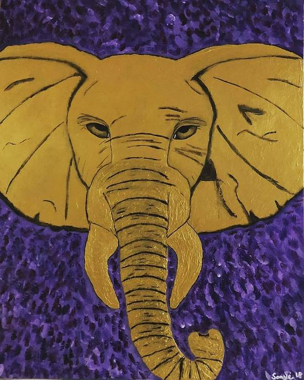 Royalty Art Print featuring the painting Royal Elephant by Sonye Locksmith