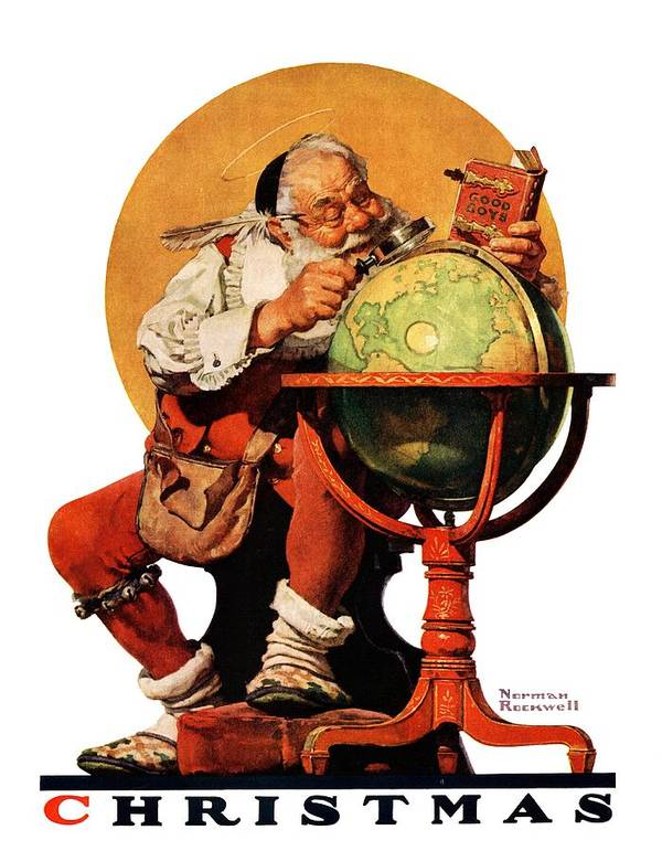 Globes Art Print featuring the drawing Santa At The Globe by Norman Rockwell