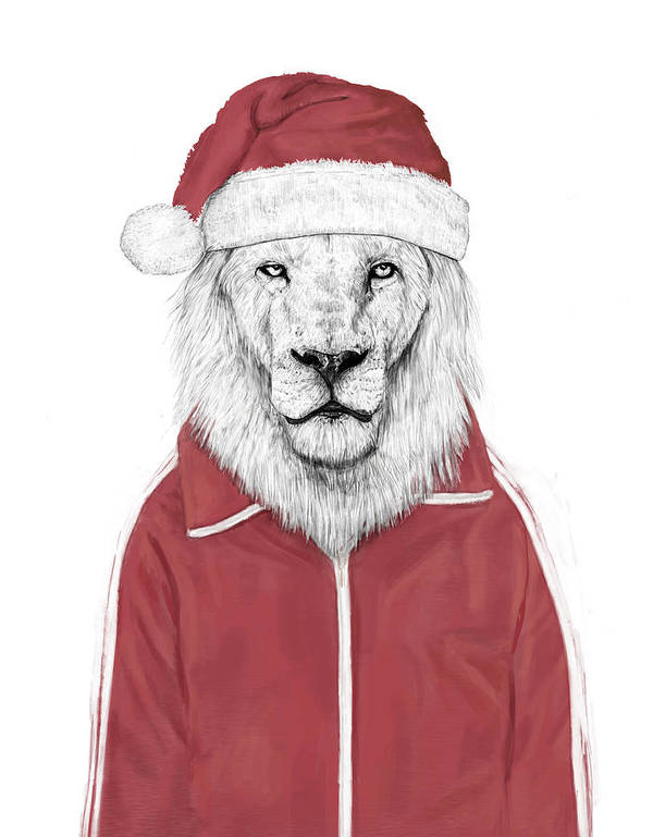 Lion Art Print featuring the mixed media Santa lion by Balazs Solti