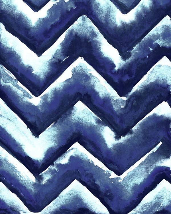 Shibori Art Print featuring the mixed media Shibori Zig Zag by Elizabeth Medley