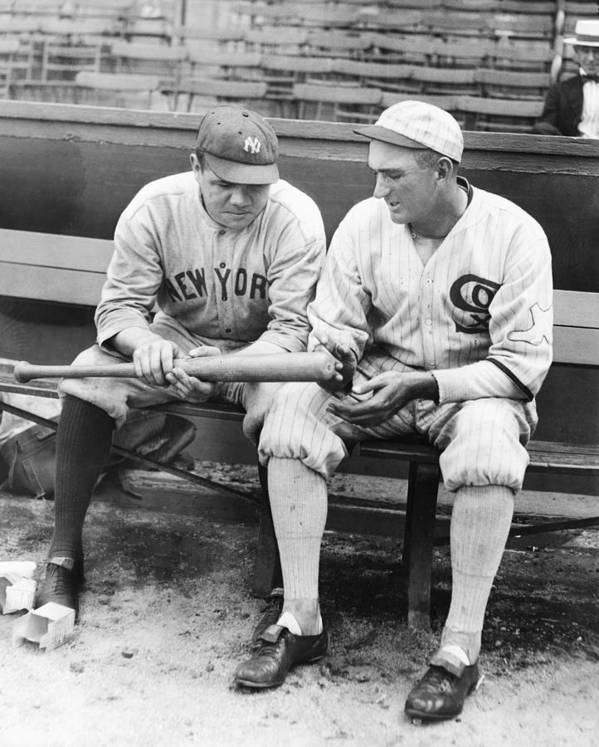American League Baseball Art Print featuring the photograph Shoeless Joe Jackson And Babe Ruth by New York Daily News Archive