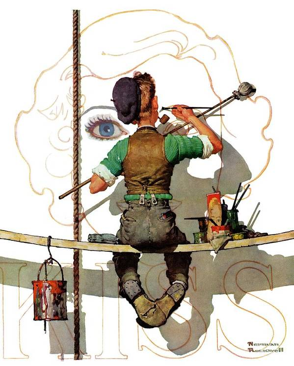 Artists Art Print featuring the drawing signpainter by Norman Rockwell