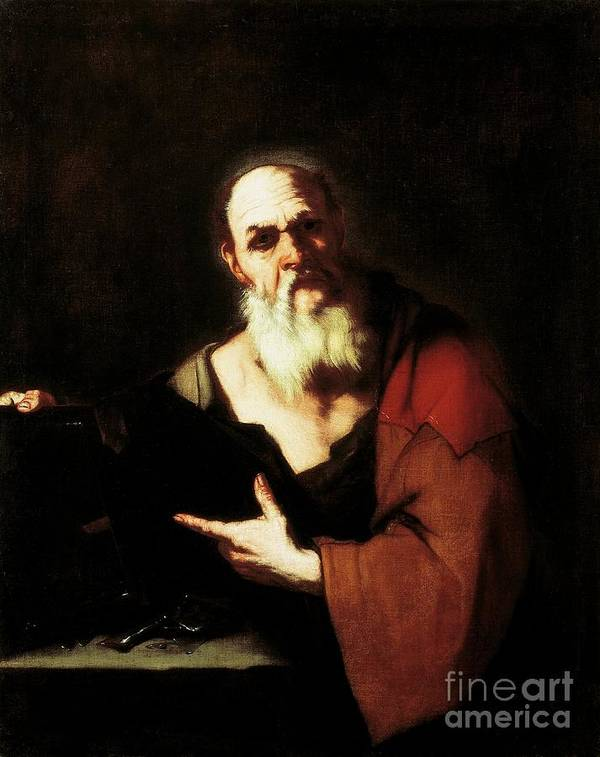 Socrates Art Print featuring the painting Socrates By Luca Giordano by Luca Giordano