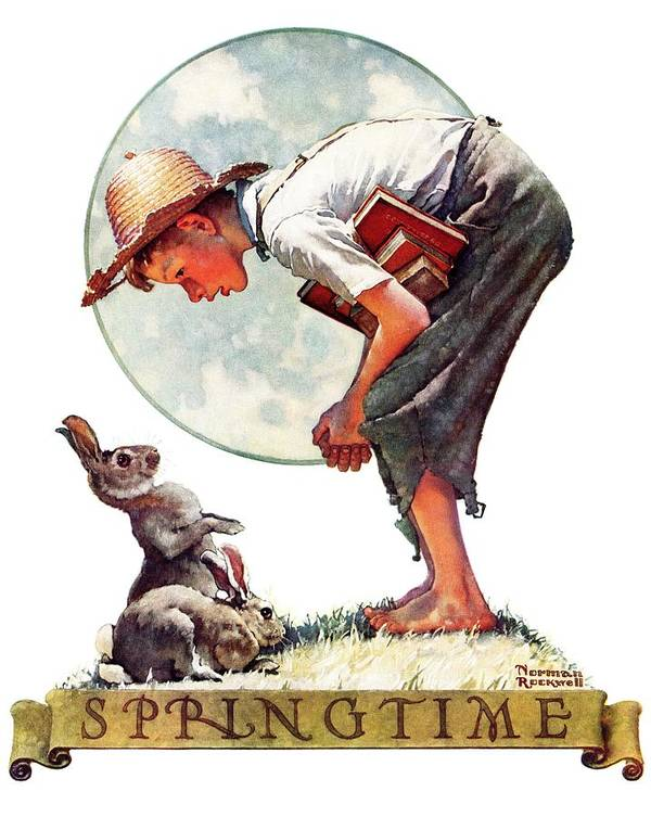 Books Art Print featuring the drawing springtime, 1935 Boy With Bunny by Norman Rockwell