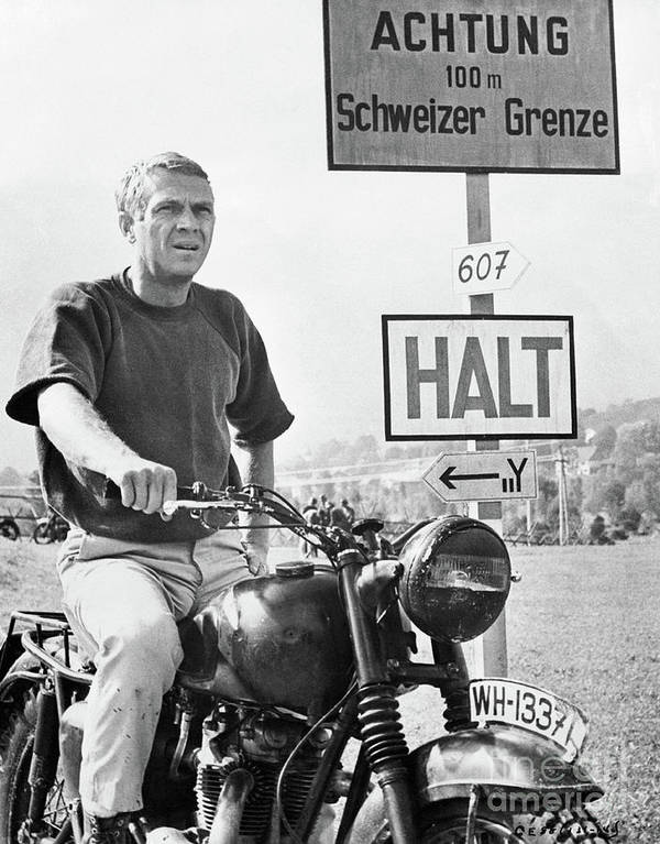 German Language Art Print featuring the photograph Steve Mcqueen On Motorcycle by Bettmann