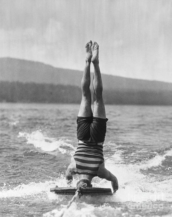People Art Print featuring the photograph Stunt Man Performing Aquaplane Feat by Bettmann