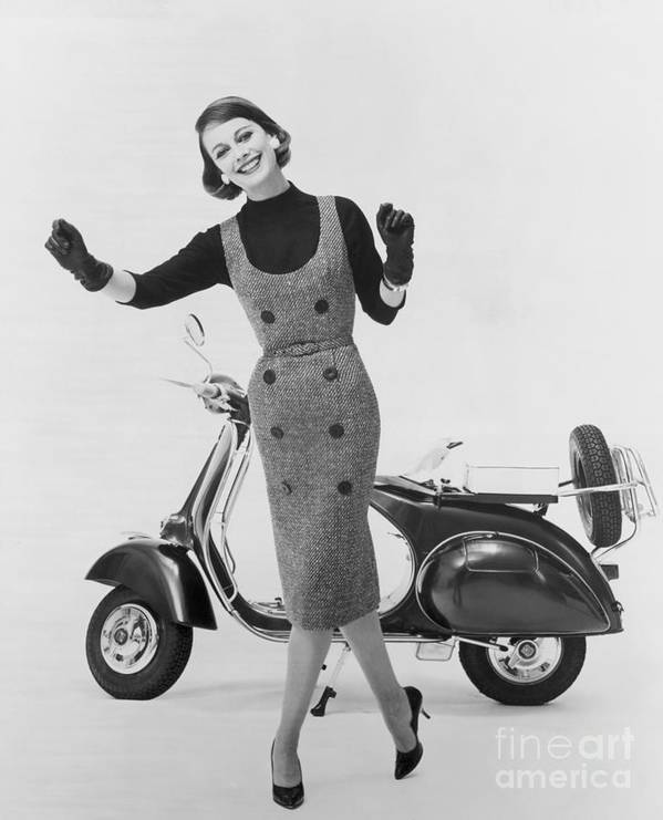People Art Print featuring the photograph Stylish Woman And Scooter by Bettmann