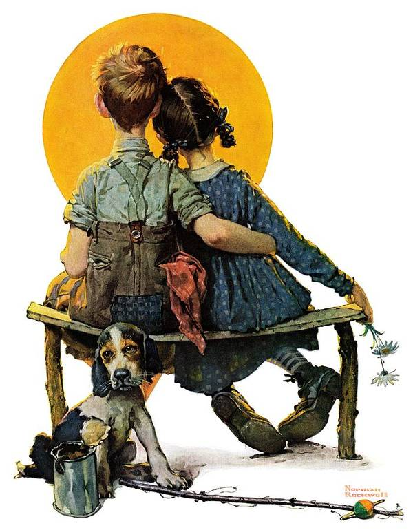 Benches Art Print featuring the drawing Sunset by Norman Rockwell