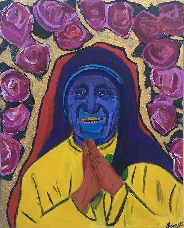 #acrylic #abstractart #abstractexpressionism #abstractpainting #art #contemporaryart #contemporarypainting #blackabstractexpressionists #sonyelocksmith #abstractartist #explore #explorepage #curator #artgallery #artcollector #haitianamerican #haitianpainter #haitianartist #artbasel2019 #artbasel #motherteresa #love #peace #empathy #chakras #balance #goldteeth #goldteethart Art Print featuring the painting Teresa Dade by Sonye Locksmith