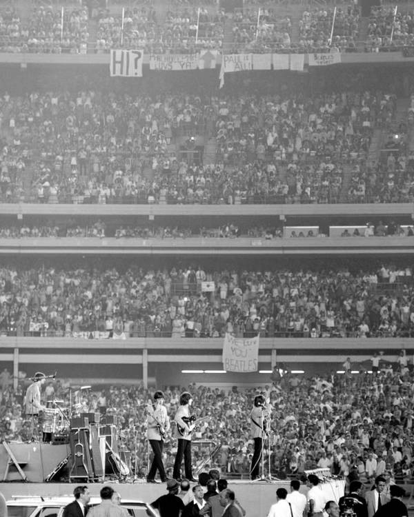 Crowd Art Print featuring the photograph The Beatles At Shea Stadium, Our Mets by New York Daily News Archive