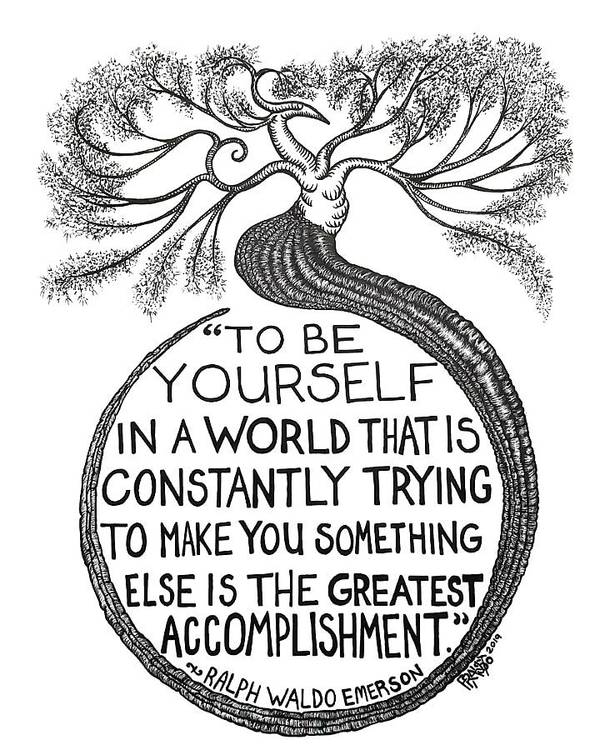 Pen And Ink Illustration Art Print featuring the drawing The Greatest Accomplishment Drawing by Rick Frausto