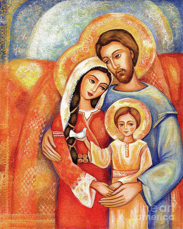 Holy Family Art Print featuring the painting The Holy Family by Eva Campbell