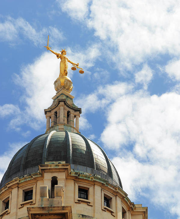 Statue Art Print featuring the photograph The Old Bailey, Central Criminal Court by Peter Dazeley
