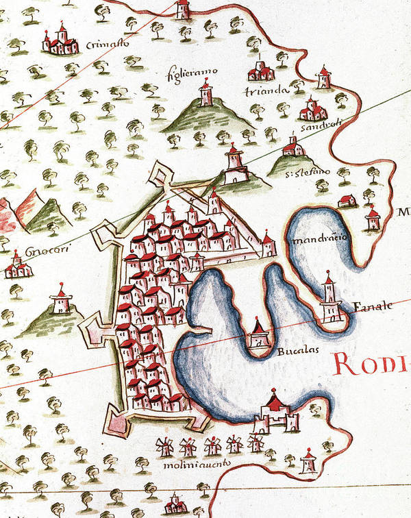 Map Art Print featuring the drawing The Port Of Rhodes In Greece Detail Of The Portulan Of Castellini, 17th Century by European School