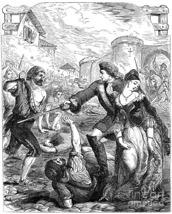 Engraving Art Print featuring the drawing The Rescue Of The Duchess Of Popoli by Print Collector