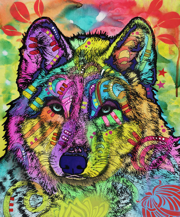 The Stare Art Print featuring the mixed media The Stare Of The Wolf by Dean Russo- Exclusive