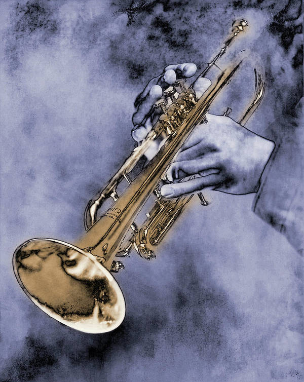 One Man Only Art Print featuring the digital art Trumpet Player by Nick White