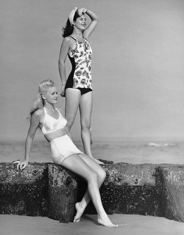 People Art Print featuring the photograph Two Women In Bathing Suits by George Marks