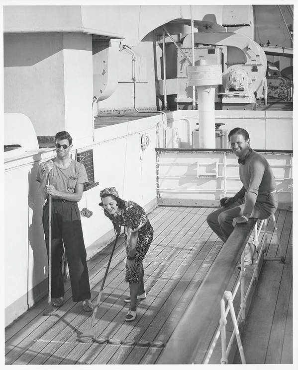 Young Men Art Print featuring the photograph Woman And Two Men On Cruiser Deck, B&w by George Marks