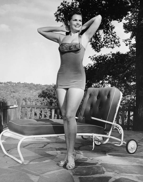 People Art Print featuring the photograph Woman In Bathing Suit Outdoors by George Marks