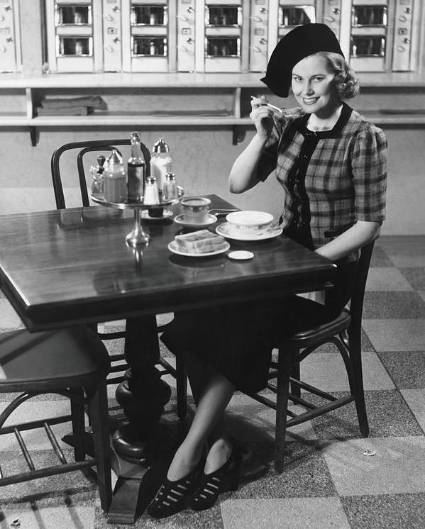 Breakfast Art Print featuring the photograph Woman In Fancy Hat Eating Breakfast In by George Marks