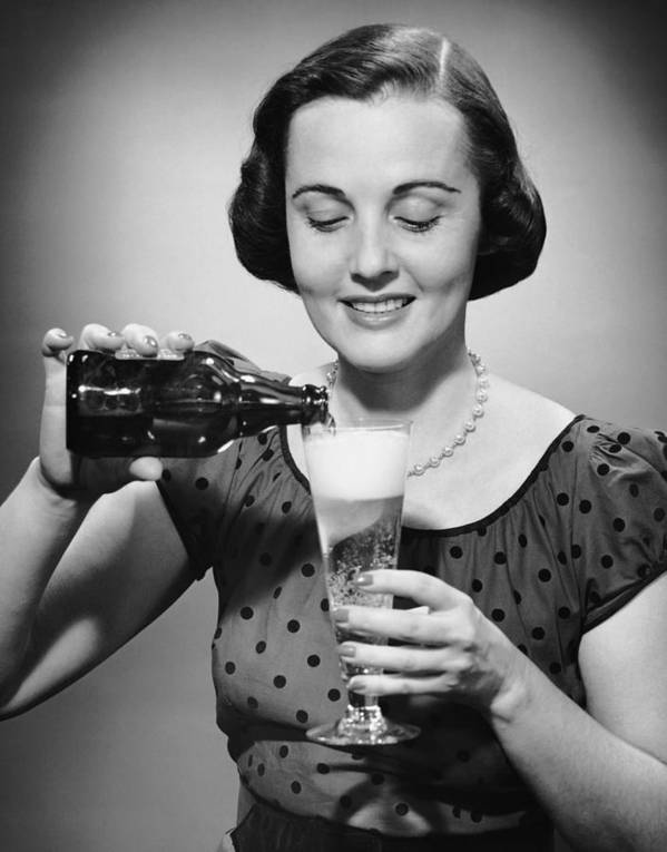 People Art Print featuring the photograph Woman Pouring Alcoholic Beverage by George Marks