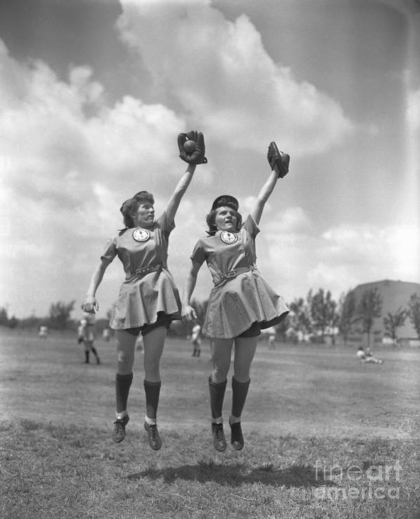 Mid Adult Women Art Print featuring the photograph Womens Baseball League Twin Players by Bettmann