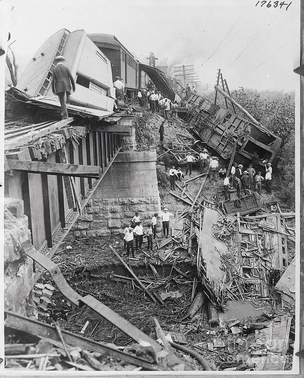 People Art Print featuring the photograph Workers On Train Wreck Debris by Bettmann